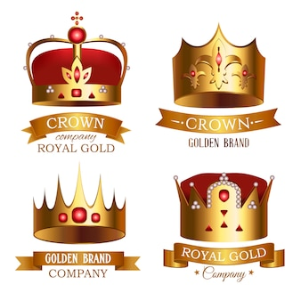 Golden crown of kingdom with ribbon isolated set