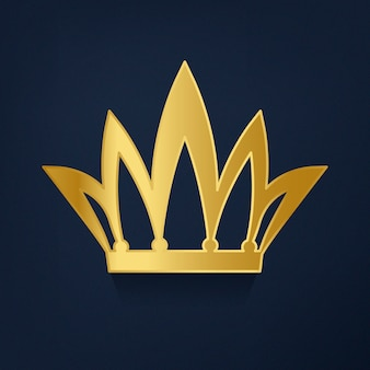 Golden crown on blue background vector