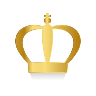 Golden crown on white background vector