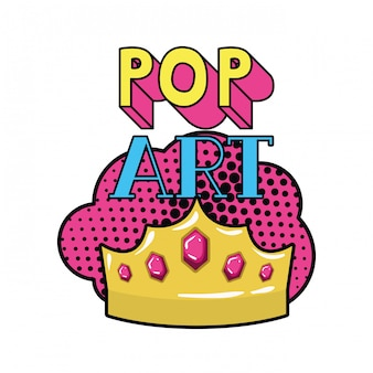 Golden crown pop art icon