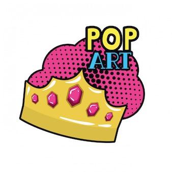 골든 크라운 팝 아트 아이콘