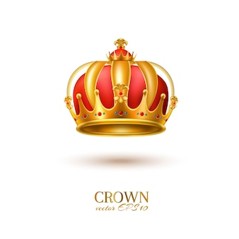 Golden crown realistic jewelry with gems 3d royal symbol