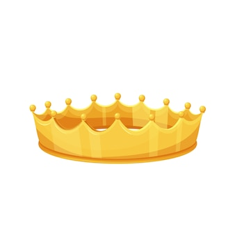 Golden crown. royal golden jewelry, success, wealth. isolated vector icon of golden triumph first place cartoon style.
