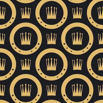 Modello senza cuciture corona d'oro. sfondo di lusso dorato vintage,