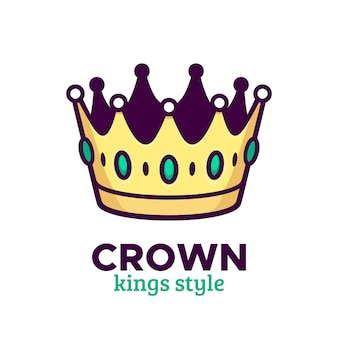 Golden crown vector icon or logo design