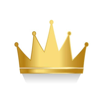 Golden crown on white background vector