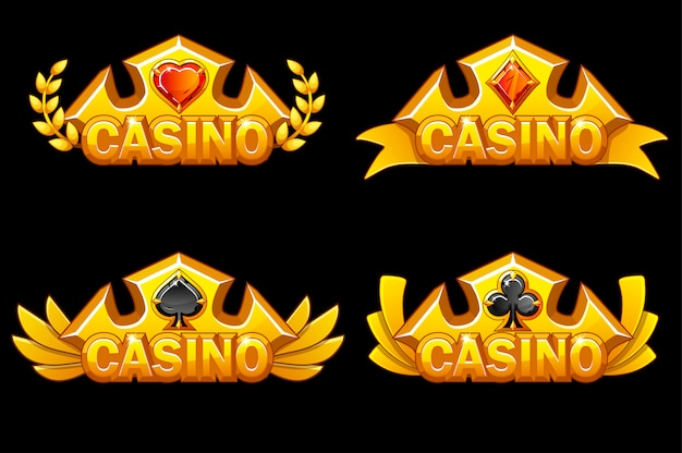 Golden crown with poker symbols. casino awards icons