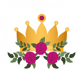 Golden crown with roses isolated icon