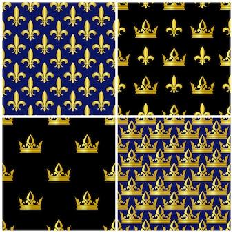 Golden crowns and fleur de lis seamless patterns set