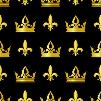 Golden crowns and fleur de lis vector seamless pattern