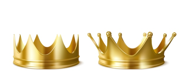 Golden crowns for king or queen, crowning headdress for monarch.
