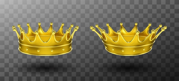 Golden crowns for king or queen monarchy symbol