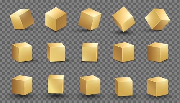 골든 큐브 골드 상자 금속 모양 벡터 사각형 블록 세트