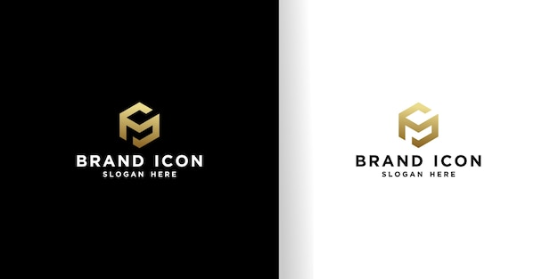 Golden cube logo design template