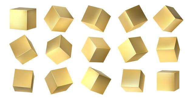 ゴールデンキューブ。さまざまな等角からの黄色の金属のリアルな3dブロック、金色の正方形のデザイン。白い背景の上のベクトルメタリックセット3dアイソメトリック黄色の金属ボックス