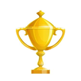 Golden cup icon, gold sport trophy for first place winner prize award