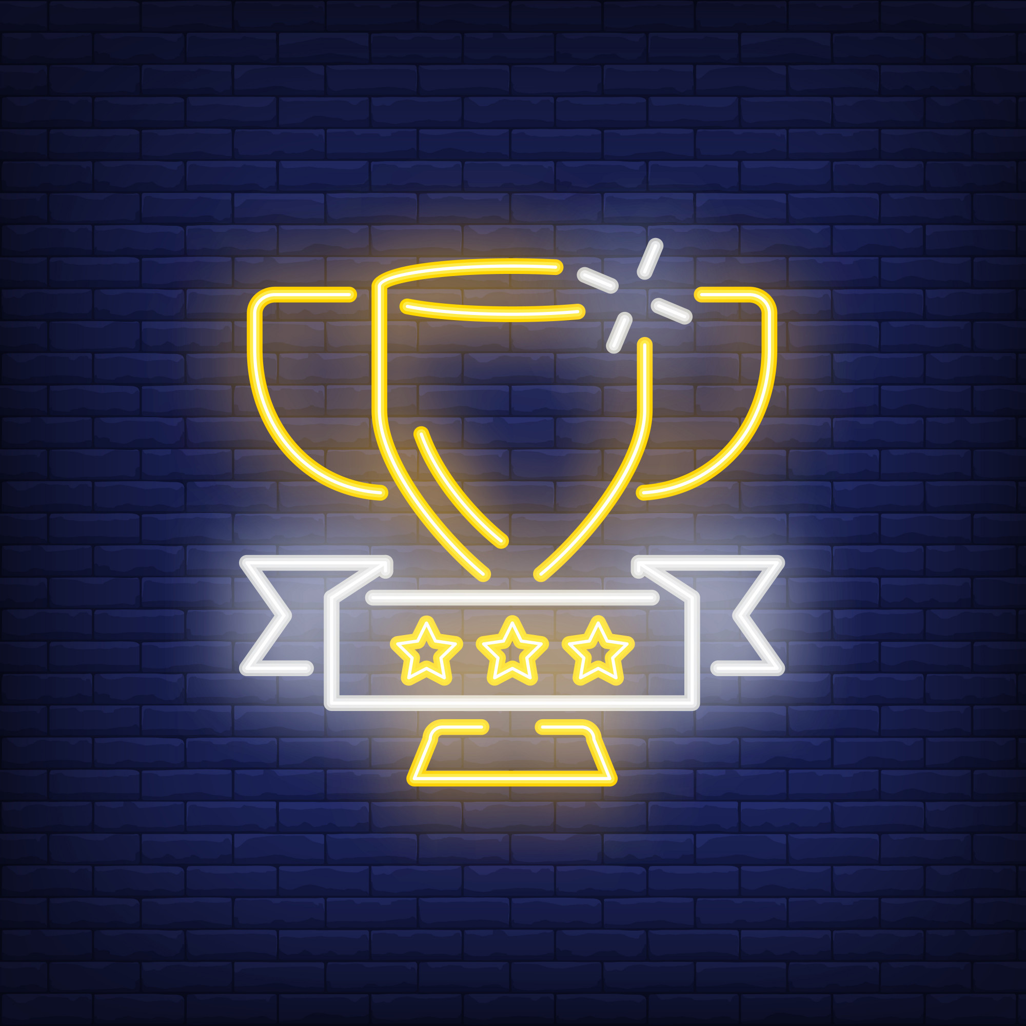 Golden cup on brick background. Neon style illustration. Victory, trophy, winner.