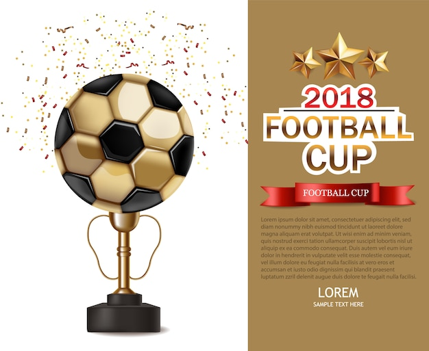 Golden cup and soccer ball