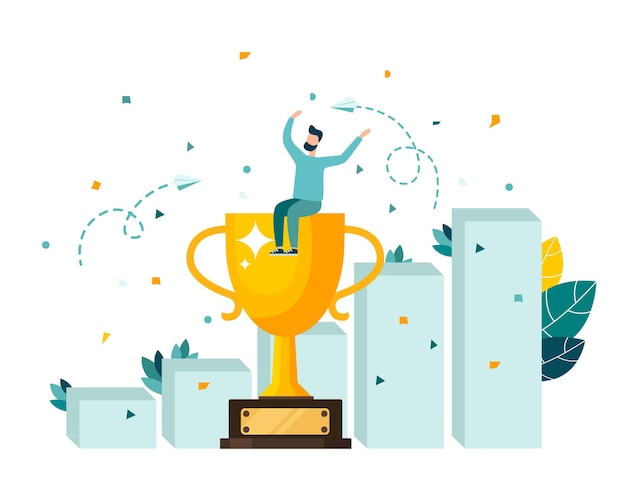 Golden cup trophy a symbol of victory the team celebrates victory modern flat style vector