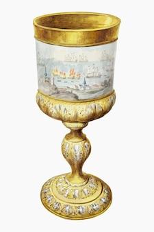 Aertschoumanによるアートワークからリミックスされた蓋のベクトルイラスト付きゴールデンカップ