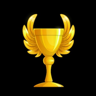 Golden cup with wings, gold award and winner trophy, vector champion prize. golden cup of victory or winner goblet with wings for sport championship first place, best game and competition reward