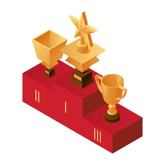 Golden cups on the podium, first, second and third place illustration.