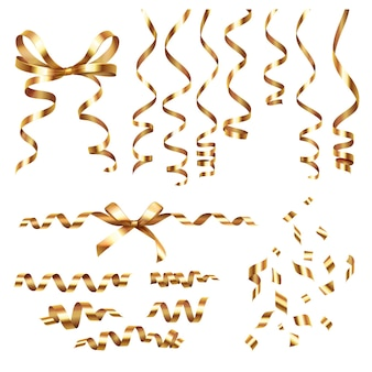 Set realistico a serpentina di nastri arricciati dorati con immagini isolate