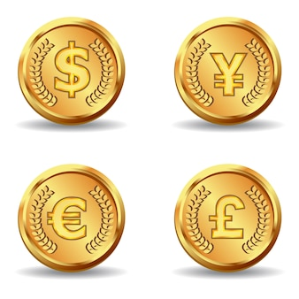 Golden currency on white background