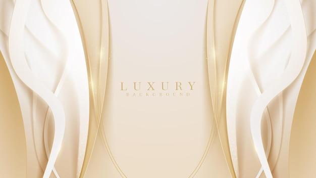 Golden curve line luxury background, modern cover design. invitation card template concept. vector illustration.