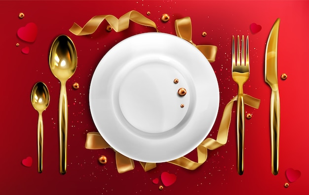Golden cutlery and plate top view, christmas dinner setting gold fork, spoon and knife on red tablecloth with ribbons, pearls and glitter, ceramic xmas holiday utensil realistic 3d illustration