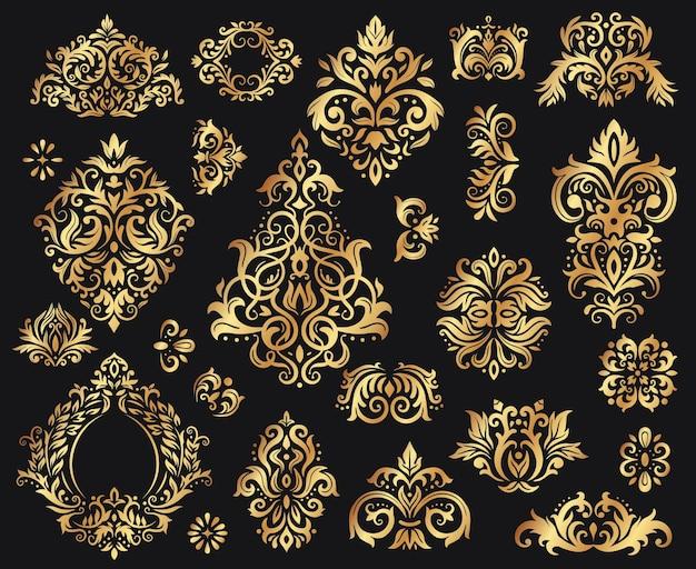 황금 다마스크 장식. 빈티지 꽃무늬 무늬, 장식용 바로크 장식품. 고급 장식을 위한 우아한 요소입니다. 검은 벡터 일러스트 레이 션에 로얄 꽃 추상 장식