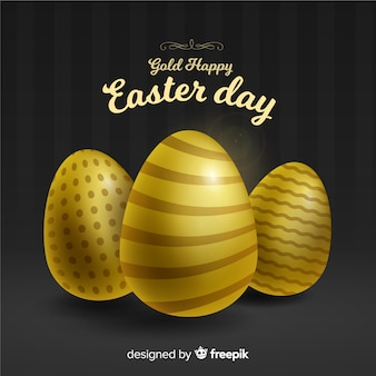 Golden decorated eggs easter day background