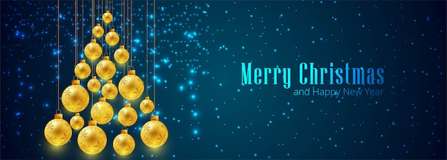Golden decorative christmas ball banner template