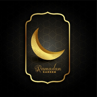 Golden decorative crescent moon for ramadan kareem
