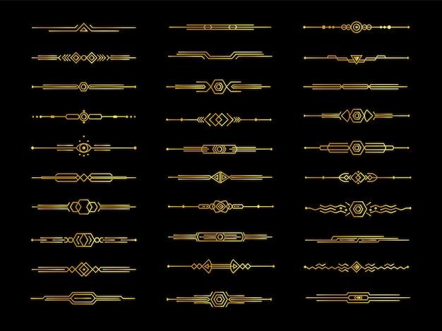 Golden decorative dividers set on black background,  illustration