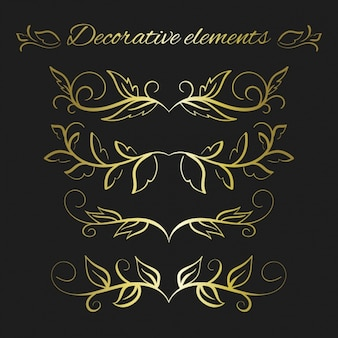 Golden decorative leaves collection