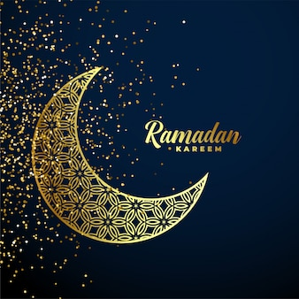 Golden decorative moon ramadan kareem background