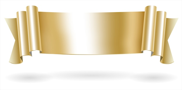 Golden decorative scroll banner