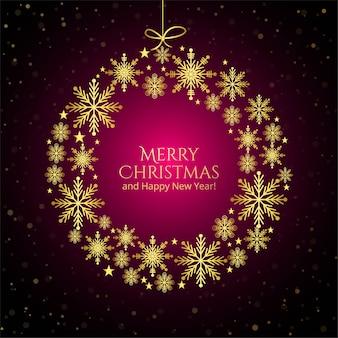 Golden decorative snowflake ball merry christmas card