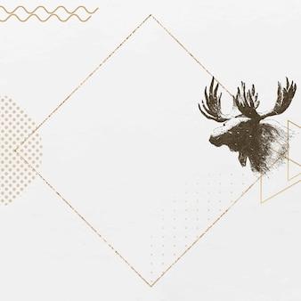 Sfondo cornice cervo d'oro Vettore gratuito