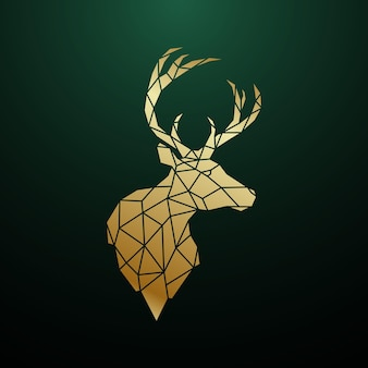 Golden deer head in geometric style