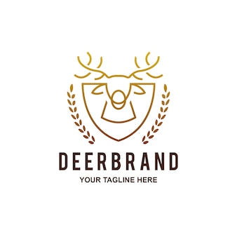 Golden deer head shield logo
