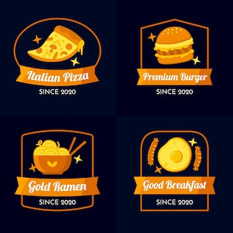 Golden design restaurant logo collection