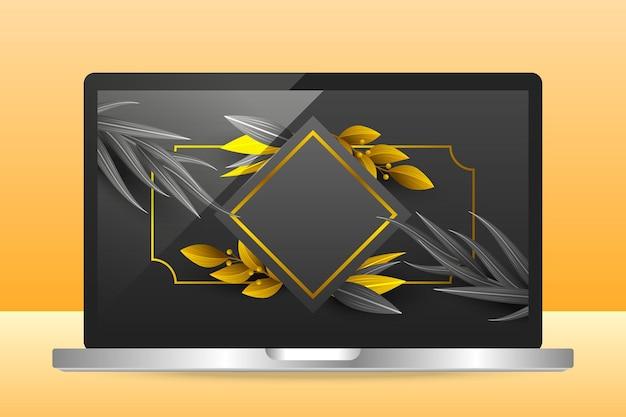 ノートパソコンの画面上の黄金の詳細な壁紙