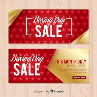 Golden details boxing day template banner