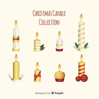 Golden details christmas candles collection