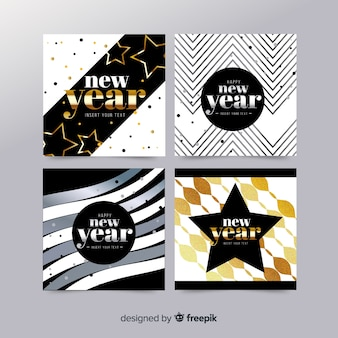 Golden details new year party cards collection