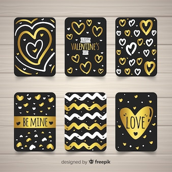 Golden details valentine card collection