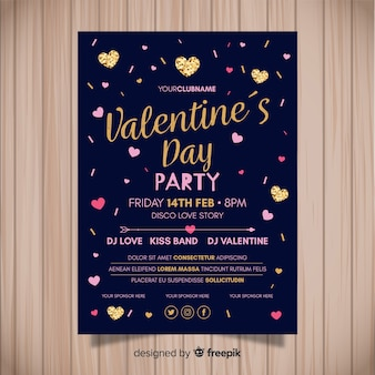 Golden details valentine's day party poster