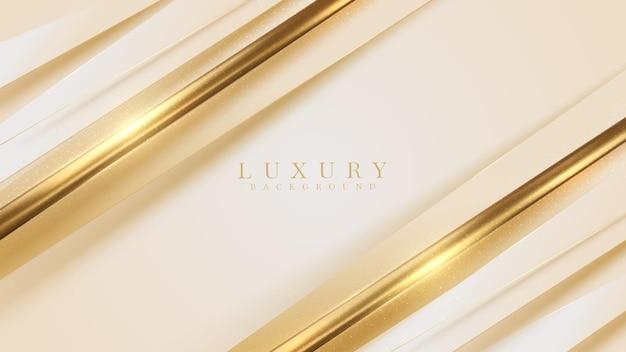 金色の斜めのラインの豪華な背景、モダンなカバーデザイン。招待カードテンプレートの概念。ベクトルイラスト。